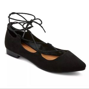 NEW! Black Faux Suede Pointed Toe Lace Up Flats